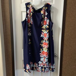 Tahari Arthur S. Levine Navy Floral Sheath Dress